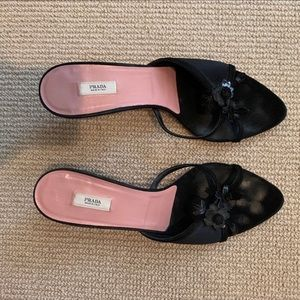 Black Prada Mini Heel Sandals